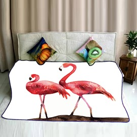 Red Flamingo Couple Wandering Pattern Flannel Bed Blankets