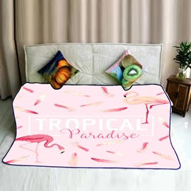 Flamingos and Tropical Letters Pattern Pink Flannel Bed Blankets
