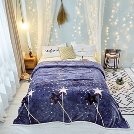 Sparkling Star Navy Blue Ultra Soft Lightweight Flannel Blanket