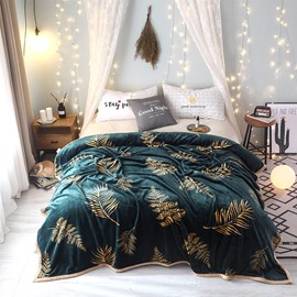 Golden Leaf Luxury Dark Green Super Soft Flannel Blanket For Winter
