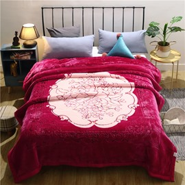 Graceful Floral Printing Rose Red Flannel Fleece Bed Blanket