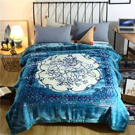 White Flower Printing Lake Blue Flannel Fleece Bed Blanket