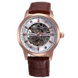 Waterproof Luminous Leather Automatic Skeleton Casual For Men Mechanical Wrist Watch