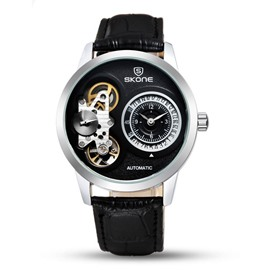3 Dial Skeleton Automatic Waterproof Calendar Men' s Wrist Watch