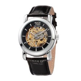 Retro Water Resistant Skeleton Leather Big Skeleton Dial Casual Black Men' s Mechanical Wrist Watch