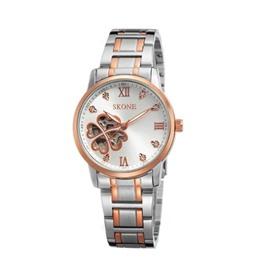 Hollow Clover Skeleton Dial Waterproof Luxury Black Golden Women' s Wrist Watch
