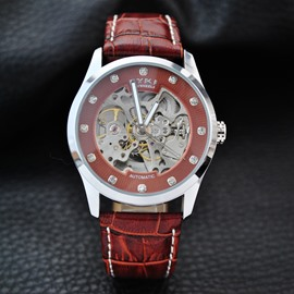 Leather Belt Brethable Luminous Skeleton Dial Automatic Waterproof Men' s Wrist Watch