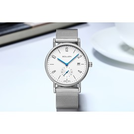 Classic Mesh Belt Luxury Casual Date Quartz Black Men's Wrist Watches