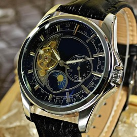 3 Dial Water Resistant 43mm Steel Belt Calendar Date Black Men's Wrist Watches