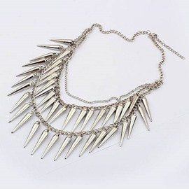 Women' s Punk Style Bullet Shape Pendant Strand Necklace
