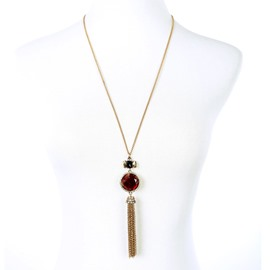 Women' s Vintage Ruby Tassel Pendant Necklace