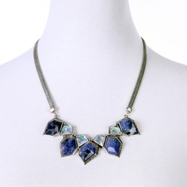 Women' s Fashon Rhombus Natural Stone Statement Necklace