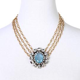 Women' s Multi-layer Diamante Gemstone Pendant Strand Necklace