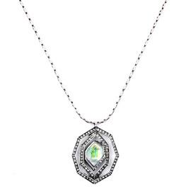 Women' s Long Rhombus Artificial Gemstone Pendant Necklace