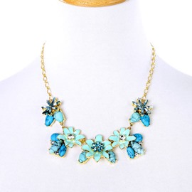 Women' s Natural Stone Diamante Floral Statement Necklace