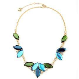 Women' s Shinning Diamante Green Leaf Necklace