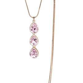 Women' s Long Crystal Tassel Pendant Necklace