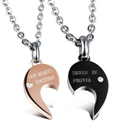 Lover' s Heart Shape Titanium Steel Pendant Necklace
