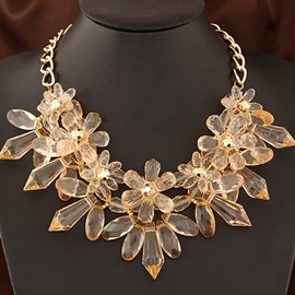 Women's Fashion Gold-Color Flower Chain Necklace