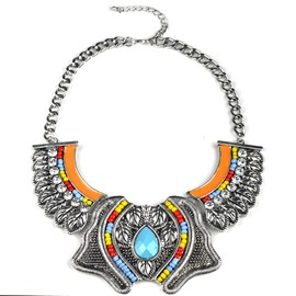 Women's Vintage Alloy Leaf Crystal Beads Statement Necklace
