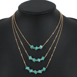 Simple Three Layers Cubes Design Alloy Necklace