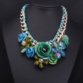 Pretty Flower-Grouped Alloy Chain Necklace