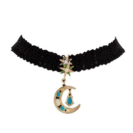 Gorgeous Moon and Stars Design Choker Necklace