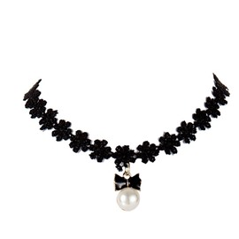 Fashion Bowknot Pearl Design Black Lace Choker Necklace