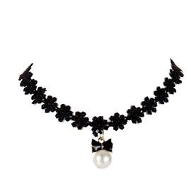 Fashion Bowknot Pearl Design Black Lace Choker Necklace