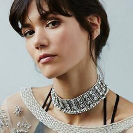 Shinning Diamante Stone Alloy Choker Necklace