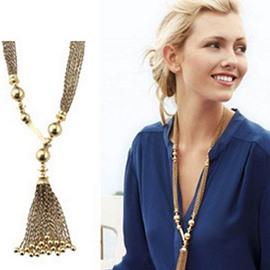 Fantastic Tassels Design Alloy Pendant Necklace
