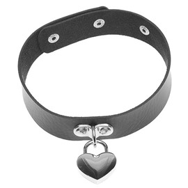 Cool Leather Heart Shaped Lock Design Choker Necklace