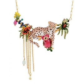 Exaggerated Leopard Design Enamel Glaze Statement Necklace
