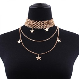 Stars Golden Latest Design Choker U Shaped Necklace