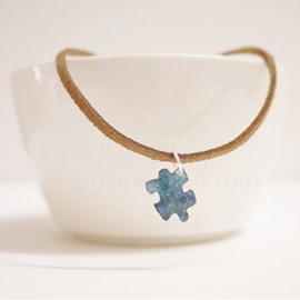 Puzzle Galaxy Leather Rope Women's Necklace Gel