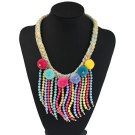 Tassels Multicolor Ball Boho Style Fashion Fun Necklace
