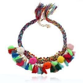 Bohemian Handmade Colorful Braided Tassels Necklace Collar