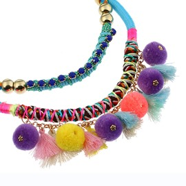 Tassel Chain Colorful Ball Necklace for Women Jewelry