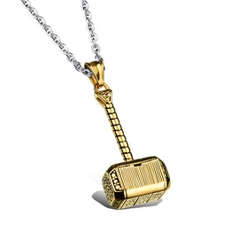 Men's Cool Titanium Steel Hammer Pendant Necklace