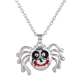 Halloween Style Ghost Spider Pendant Necklace