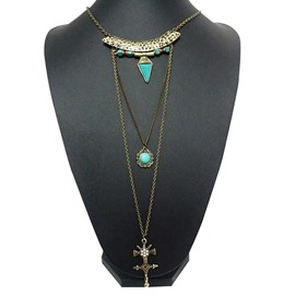 Fancy Three Layers Cross Design Pendant Necklace