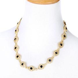 Women' s Simple Diamante Golden Alloy Necklace