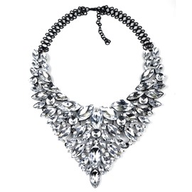 Women' s Fashion All Diamante Butterfly Tassel Design Statement Necklace