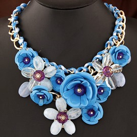 Women's Vogue Colorful Floral Chain Necklace
