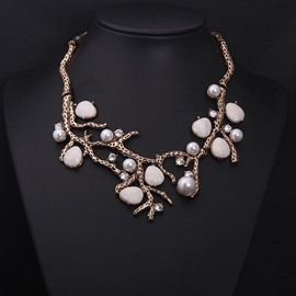 Unique Tree with Natural Stone Shape Statement Necklace