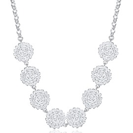 Sparkling Rose Design Pendant Necklace