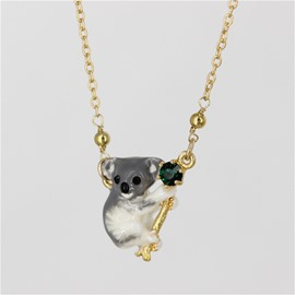 Lovely Koala Design Enamel Glaze Pendant Necklace