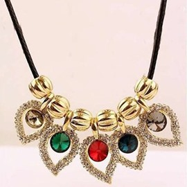 Amazing Multicolor Crystal Hollow Design Statement Necklace