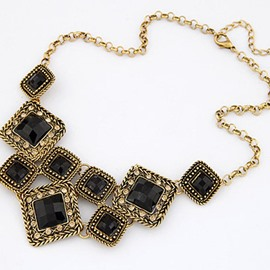 Vintage Multicolor Diamante Asymmetric Design Statement Necklace