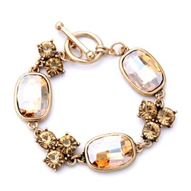 women's Gold Elegant Diamante Crystal Pendant Bracelet